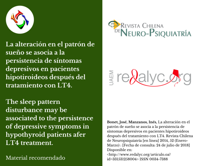 la alteración en el patrón de sueño se asocia a la persistencia de síntomas depresivos en pacientes hipotiroideos después del tratamiento con LT4