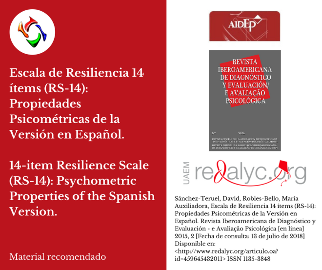 Escala de Resiliencia 14 ítems (RS-14): Propiedades Psicométricas de la Versión en Español.